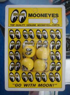 YELLOW MOONEYES MOON LOGO VALVE STEM CAPS
