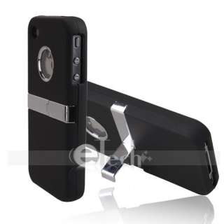 DELUX BLACK FULL w/CHROME STAND CASE FOR IPHONE 4 4G