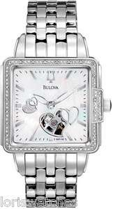 96R155 WOMENS SQUARE DIAL AUTOMATIC WATCH WITH OPEN HEART, DIAMONDS
