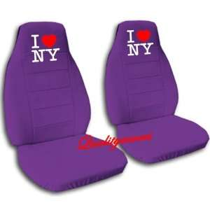 2 purple car seat covers with I love New York for a 2001