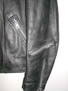 Beautifully TRASHED Classic Heavy Duty Black Leather MOTORCYCLE JACKET