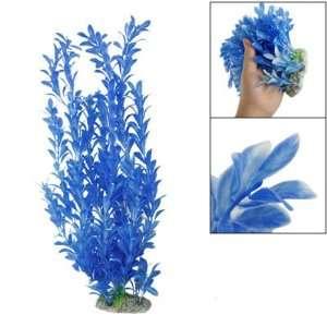 Sky Blue Leaf Ceramic Base Plastic Grass Plant Decor