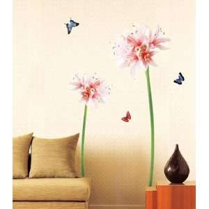 Modern House Giant Spout Pink Lily Large Wall Decals Stickers