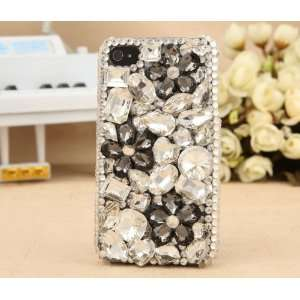 Apple Iphone 4s 4g Beautiful Clear Bling Crystal Black Flower Girls