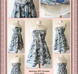 Blue Tone Floral Print Strapless/Halter FULL Flare Skirt Cotton Dress