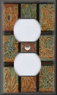 Plate Cover   Wall Decor   Tuscan Tones Floral Mosaic Image