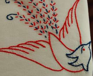 Sheet Vintage French Embroidered Linen Baby Nursery Blue Birds Curtain