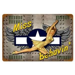 Miss Behavin Pinup Girls Vintage Metal Sign   Victory