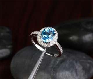 39CT BLUE TOPAZ & DIAMOND 14K WHITE GOLD PAVE ENGAGEMENT WEDDING