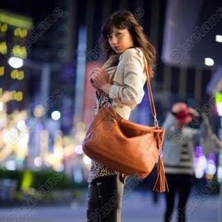 Shoulder Bag Handbag Tote Satchel Top handles Tassels Back pocket