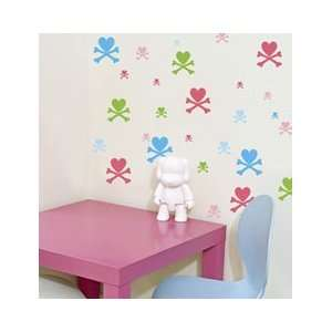 Toki Doki Pink Skull and Crossbones Wall Stickers from Wall Candy Arts