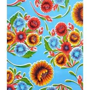 Light Blue Bloom Oilcloth Fabric Arts, Crafts & Sewing