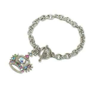 Crystal Crown Charm Juicy Look Toggle Bracelet