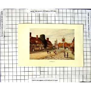 C1850 C1930 Colour Print Street Scene Biddenden Home