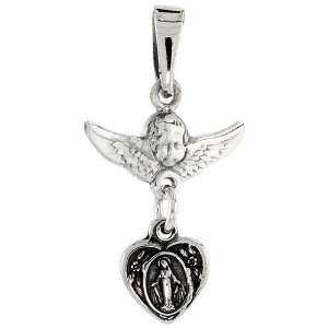925 Sterling Silver Cherub Angel & Blessed Mother Pendant