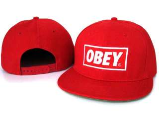 Hot New Obey Original Hip hop Bboys Snapback Cap Hat with logo Red