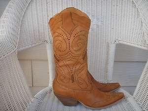 BCB GIRLS BCBG 9.5 Fits like 9N Women Fancy BROWN Leather Western