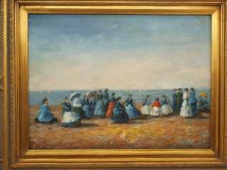 Gilt Framed Impressionist Beach Scene Oil Painting
