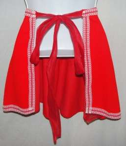 Vintage Red & White Handmade Merry Christmas Tie Back Apron Skirt Lace