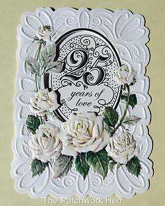 Wilson Fine Arts 25th Wedding Anniversary Card Beautiful Roses CG197
