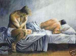 High quality oil paintingtwo man on the bed 24x36
