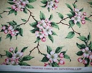 Dogwood Flowers on Beige Background, Timeless Treasures, BTHY