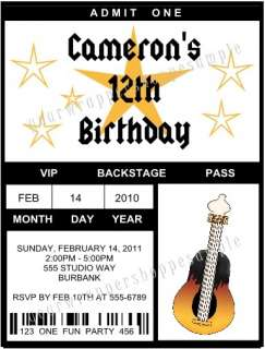 ROCK N ROLL BAND STAR Birthday Party Ticket Invitations