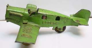 HUBLEY Bremen Junkers D1167 Airplane in Green   Cast Iron   10 Wing