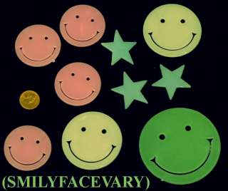 5X GLOW DARK 50 PLASTIC SMILEY FACE BABYS NURSERY ROOM