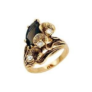 Womens Nature Smoky Quartz Swarovski Crystal Gold Tone Ring, Size 5