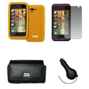 EMPIRE Verizon HTC Rhyme Black Leather Case Pouch with Belt Clip and