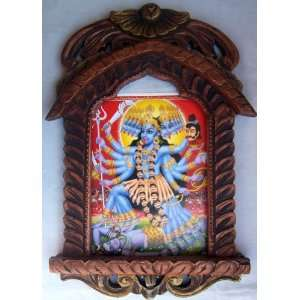 Goddess Maa Kali Poster painting in wood Crafts Jharokha