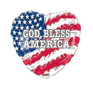 God Bless America Heart American Flag 18 Balloon Mylar