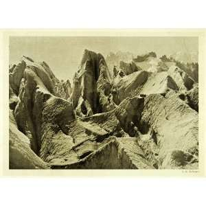 Mountain Range Alps Summit Rocks   Original Halftone Print Home