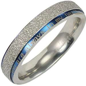 Steel Blue and Sparkle Silver You are always in my heart 4mm Band