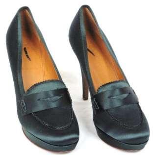 Crew Biella satin high heel loafers size 8
