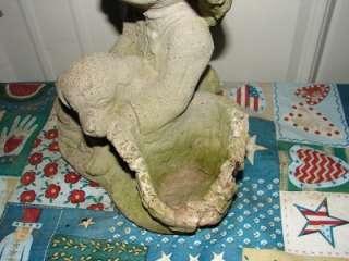 Vintage Concrete Boy W/Dog Yard Garden Ornament/Statue
