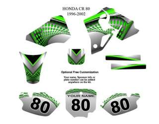 Honda CR80 1996 2002 MX Bike Graphic Decal Kit 7000Grn