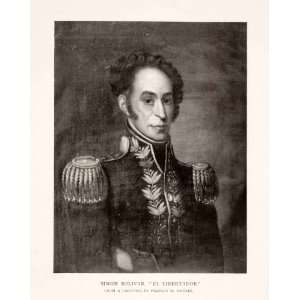1912 Halftone Print Simon Bolivar Venezuela Leader Hero