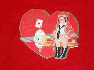 Vintage Cute Valentine Card , Cute Girl Airplane Pilot , I be your