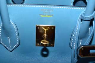 AUTHENTIC HERMES BIRKIN BLUE JEAN BOXCALF & GOLD HW 35   RARE