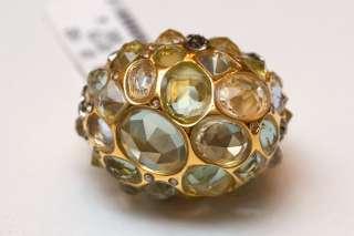 New ALEXIS BITTAR Jeweled Dome Ring  Size 7 Swarovski Crystals, Yellow