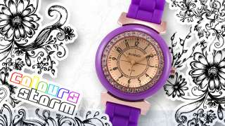 Retro Tinted Glass Rose Gold Crystal Gems Lady Watch BN