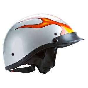 DOT White with Flame Design Motorcycle Beanie Half Helmet Automotive