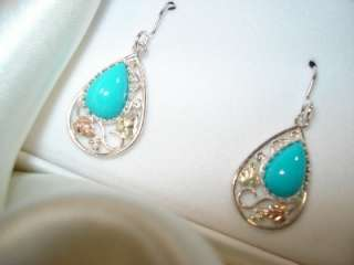 BLACK HILLS GOLD/silver genuine Turquoise Earrings