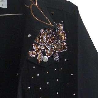 SIZE 1X Black Jean Jacket with rhinestone decorations