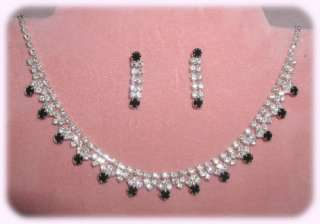 SWAROVSKI* CRYSTAL NECKLACE & EARRING SET W/JET BLACK ACCENTS 726J WOW
