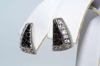 80CT BLACK & WHITE SPINEL CLUSTER EARRINGS ROUND CUT!!