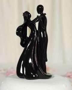 Silhouette of Love Wedding Cake Topper Black Porcelain