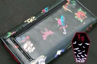 Rock Rebel~Tattoo Tri Fold Wallet~BLACK~Goth/Rockabilly